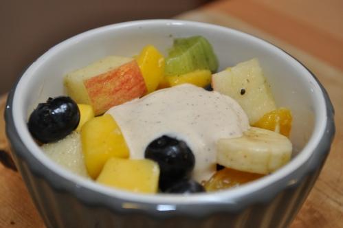 fruktsalat med olje og mangoeddik fra Oliviers & Co